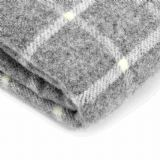 Grey And White Wool Blanket / Throw - Chequered
